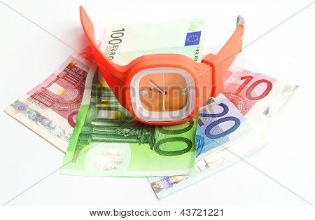 Wristlet Watch With Banknote