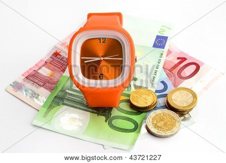 Wristlet Watch With Banknotes And Coins