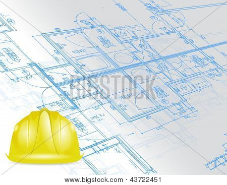 Blueprint And Under Construction Sign