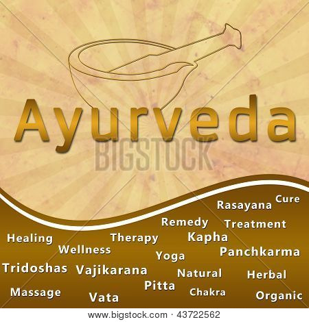 Ayurveda text keywords Mortar with Brown Grunge