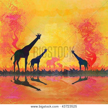 African Savannah With Reflection