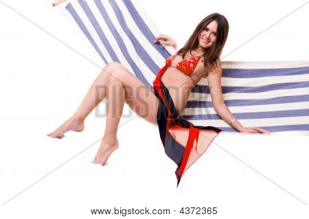 Sexy Woman Wearing Bikini Relax On Hammock