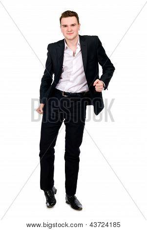 Jovem empresário em traje de dança