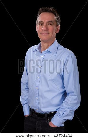 Portrait Of Relaxed Smiling Business Man In Blue Shirt