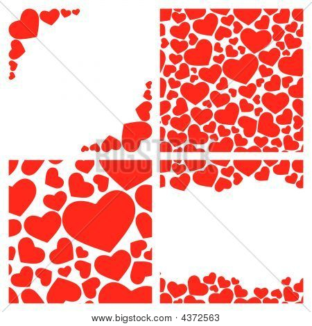 Four Seamless Heart Illustrations