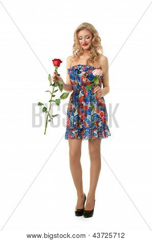 Valentine girl with roses