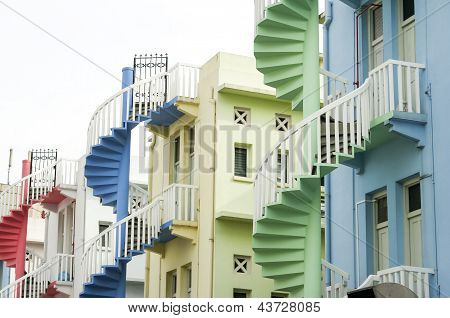 Colorful Spiral Staircases Singapore City
