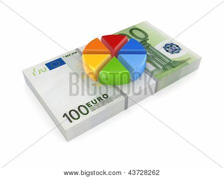 Colorful graph on pack of euro.