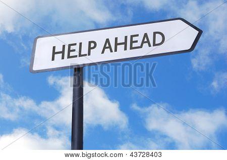 Help Ahead Street Sign