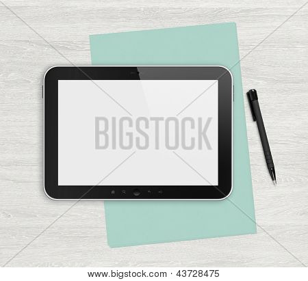 Blank Digital Tablet On A White Desk