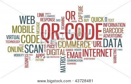 Qr Code Word Cloud Illustration