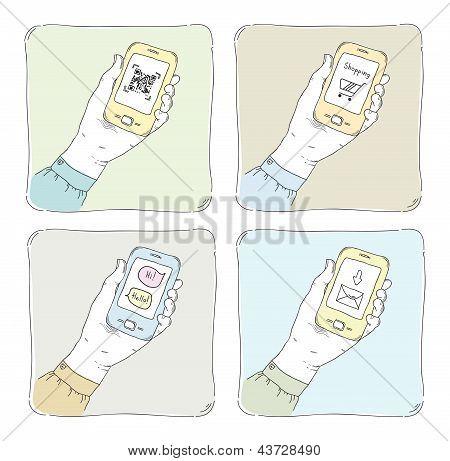 Met behulp van Smartphone illustratie Set