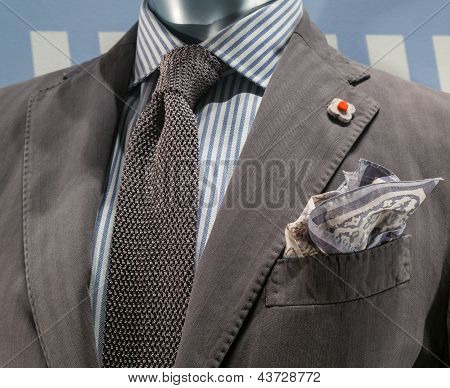Gray Jacket With Blue & White Striped Shirt And Gray Knit Tie