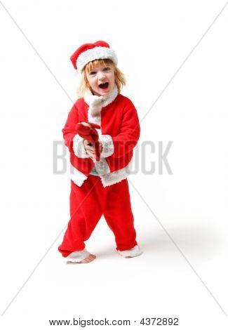 Child Santa Clause Isolated Scream