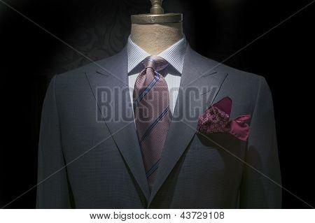 Jaqueta cinza com branco azul & camisa xadrez, listrada, gravata e lenço marrom