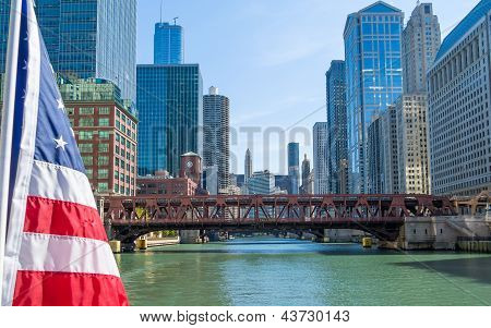 Chicago River Downtown With Usa Flag