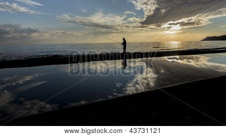 Fisher Man With Fishing Rod Silhouette