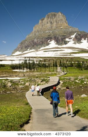 Hikers At Logan Pass