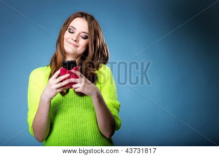 Happy Girl With Mobile Phone Reads Message