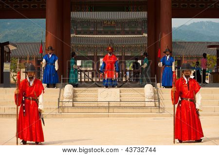 Gyeongbokgung Palace Entrance Grounds Guards Wide