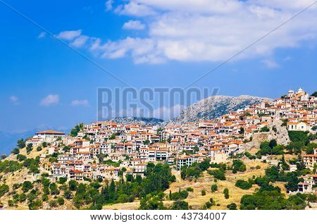 Resort Of Arachova On Mountain Parnassos, Greece