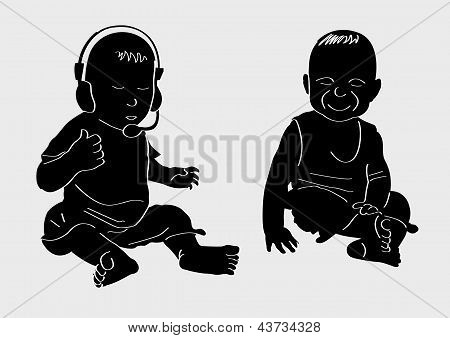 Illustration of two funny babies