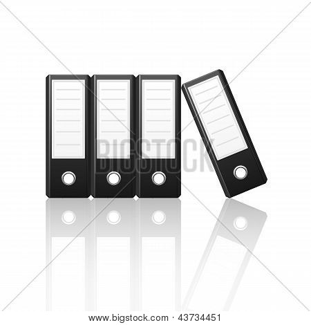 Black Binders Vertical Isolated On White Background