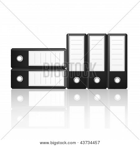 Black Binders Vertical And  Horizontal Isolated On White Background