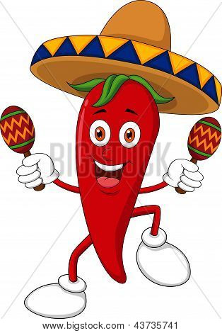 Happy chili pepper dancing with maracas
