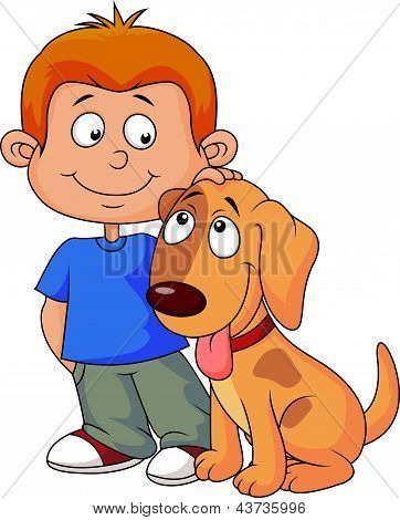 Cute boy with his puppy