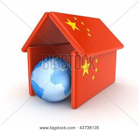 Globe under chinese flag.