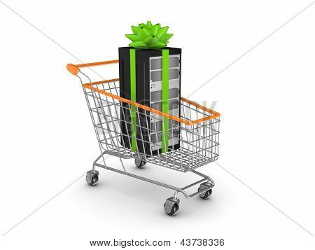 Server in a shopping trolley.