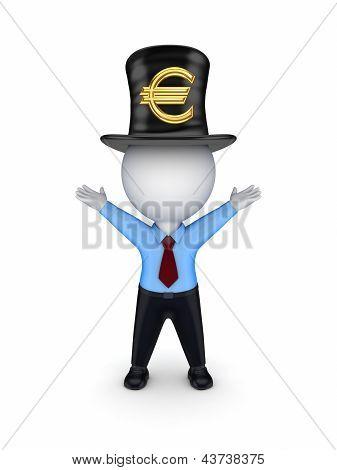 3D pessoa pequena com sinal de euro cartola.