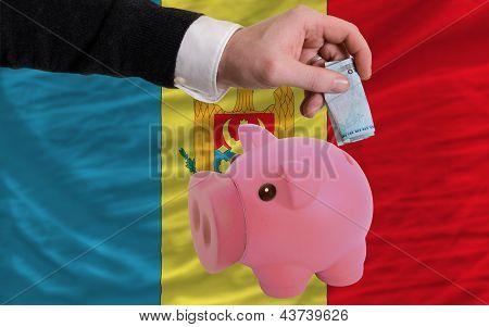 Funding Euro Into Piggy Rich Bank National Flag Of Moldova