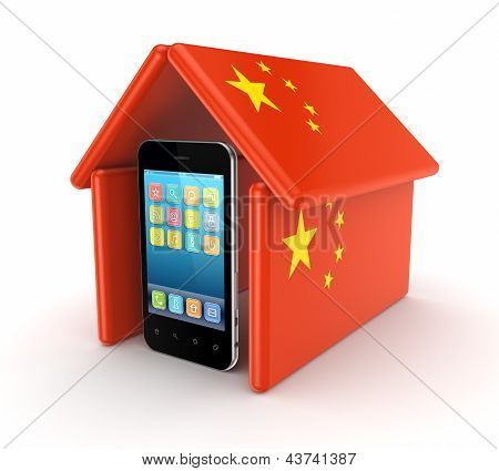 Modern mobile phone under chinese flag.