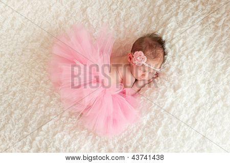 Newborn Baby Girl Wearing a Pink Tutu