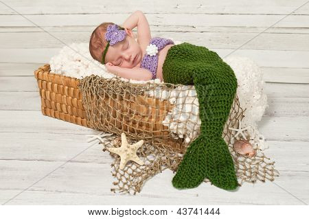 Newborn Baby Girl Wearing a Mermaid Costume