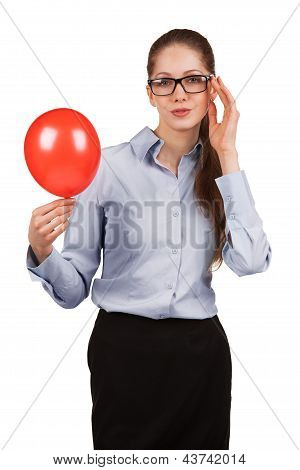 Stylish Woman With Inflated Red Ball