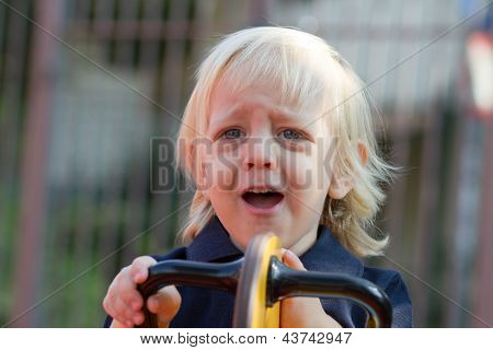 Crying Little Child On Playground