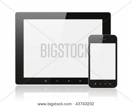 Moderno realista digital PC tablet com smartphone