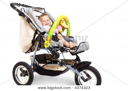 Happy Baby In Stroller