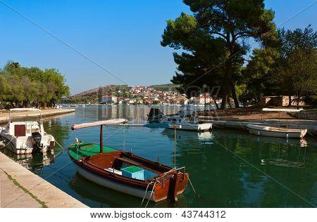 Waterfront View Of Trogir In Croatia