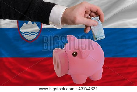 Funding Euro Into Piggy Rich Bank National Flag Of Slovenia