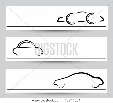 Banner Of Stylish Car Signs & Symbols. Vector Graphical Elements