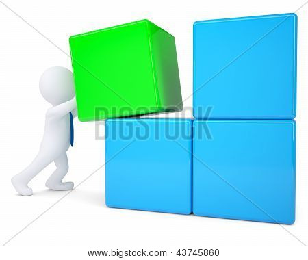 3d white man collects large cube of blocks