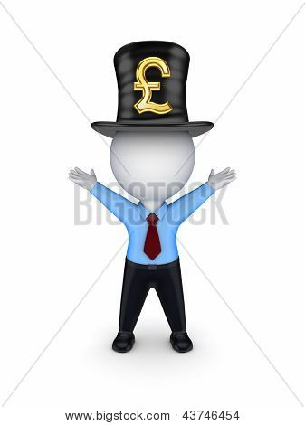 3d person with sign of pound sterling.
