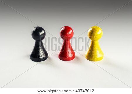 Black Red Yellow Ludo Figure