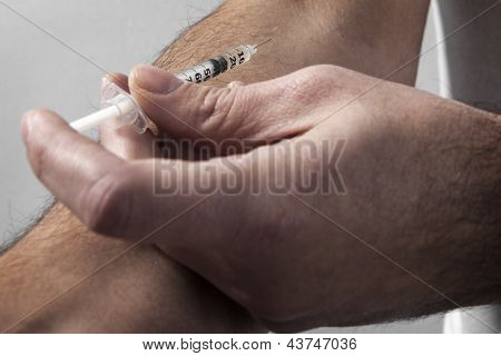 Drugs Injected Into Male Hand