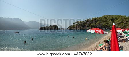 The Tourists Are Visiting Oludeniz Beach.