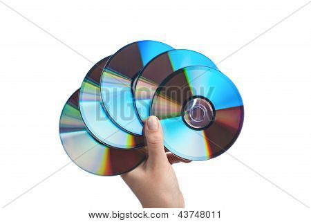 Human Hand With Cds.